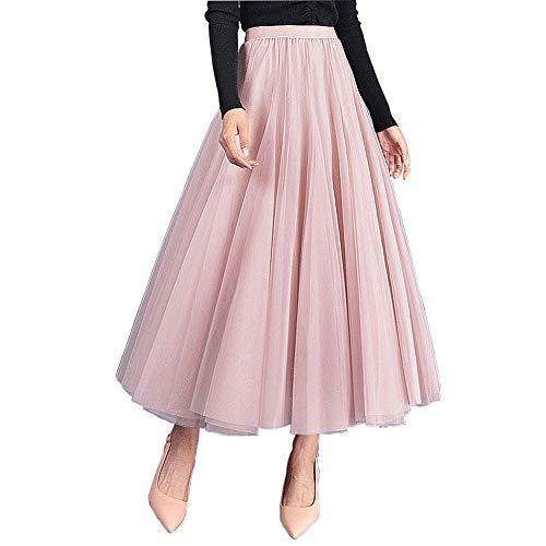 Carolilly Damen Tutu Tüllrock Langer Mesh Rock Knielang Elegante Tüll Röcke für Hochzeit, Einheitsgröße, Pink