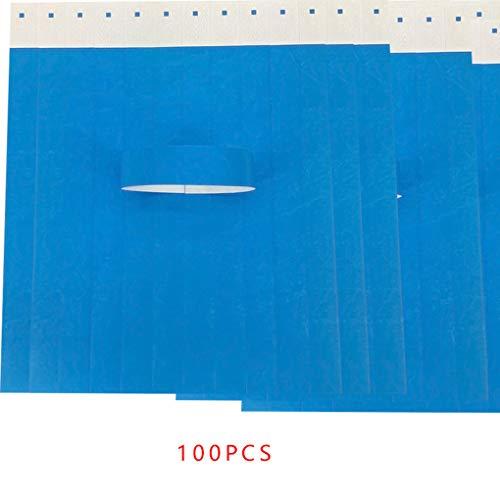 Lidahaotin 100Pcs / Set wasserdichte Einweg Event Armbänder Non-Woven-Gewebe-Papier Armbänder Vergnügungspark Eintrittskarten Blau