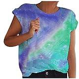 Lenfeshing Blusas de Verano con Efecto Tie-Dye para Mujer Túnica con Cuello Redondo Tops Camisetas Fluidas de Manga Corta