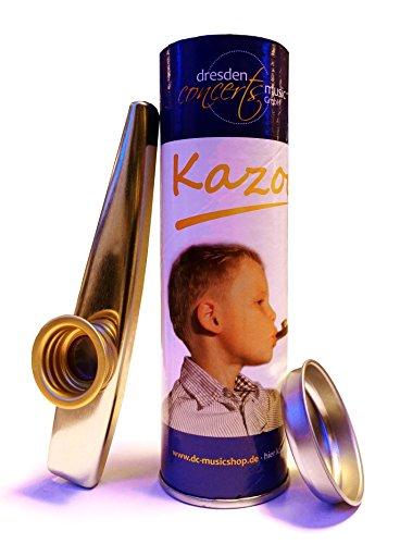 Qualitäts-Kazoo aus Metall in farbiger, verschließbarer Geschenkdose mit Spielanleitung, das beliebte Spaß- und Party-Instrument