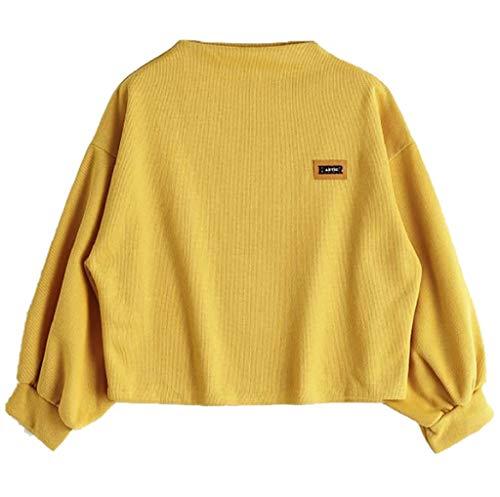 FNKDOR Sweat-Shirt Femmes Automne Crop Tops À Manches Longues Col Rond Lâches Uni T-Shirt Chemisier (Jaune,FR(Buste)-50/CN-XL)