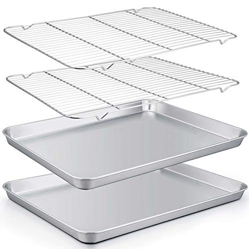 TeamFar Baking Sheet with Rack Set of 4, 20''×14''×1.2'', Half Size Stainless Steel Cookie Sheet Baking Pans with Cooling Rack Set , Non Toxic & Rust Free, Mirror Finish & Easy Clean, 2 Pans & 2 Racks