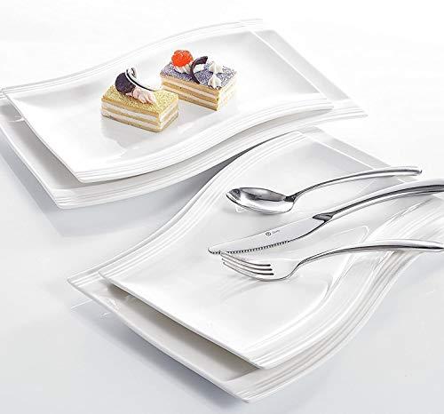 MALACASA, Série Flora, 4pcs Assiettes Plates Porcelaine Blanc Crème 2pcs 13,25\