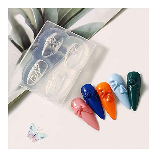 SSGLOVELIN 1pcs Silicone Nail Carving Moule 3D Papillon Bow-Noeud Moule Stamping Plate Nails Pochoirs Bricolage UV manucure Gel Outils Nail Art Beau (Color : 01)