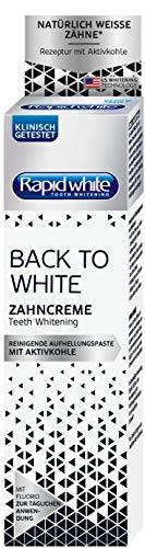 Rapid White Back to White Zahncreme, 75 ml, Zahnaufhellung für Zuhause, Whitening-Zahnpasta für weißere Zähne, mit Aktivkohle, ohne Wasserstoffperoxid