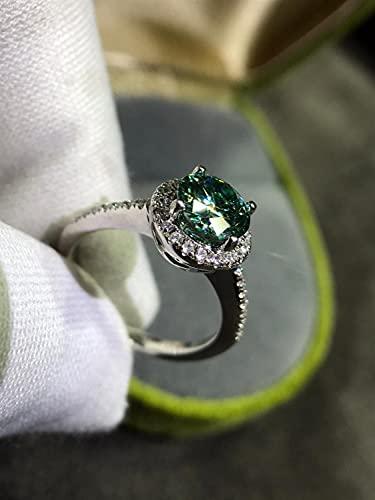 JIUXIAO Anillo de Diamantes de Laboratorio Verde Redondo Plata de Ley 925 Anillos de Diamantes de Laboratorio de Esmeralda de Corte Joyería deBoda