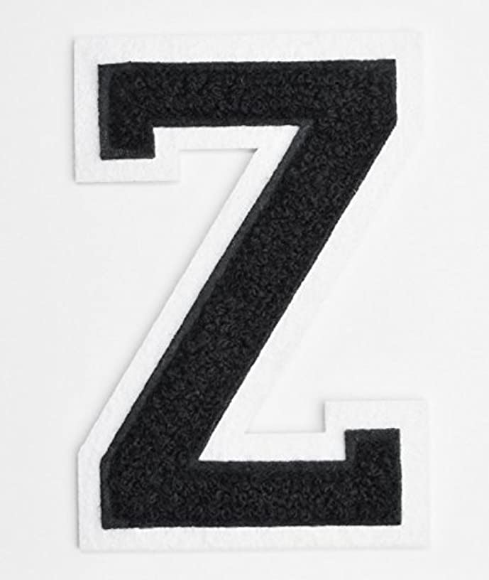 Varsity Letter Patches - Black Embroidered Chenille Letterman Patch - 4 1/2 inch Iron-On Letter Initials (Black, Letter Z Patch)