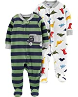 Carter's Baby Boys 2-Pack Fleece Footed Sleep and Play, Dinosaurs/Stripe Truck, 3 Months