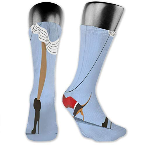 Papalikz Compression Medium Calf Socks,Woman With High Heels And Skirt Walk Her Sweet Clothes Dog