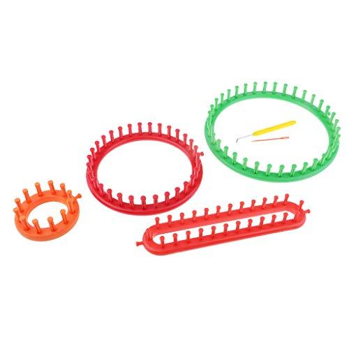 perfk 4-teilig Strickrahmen-Set Strickring Knitting Loom Stricken Strickhilfe für Pullover, Hosen, Minirock, Schal, Mütze