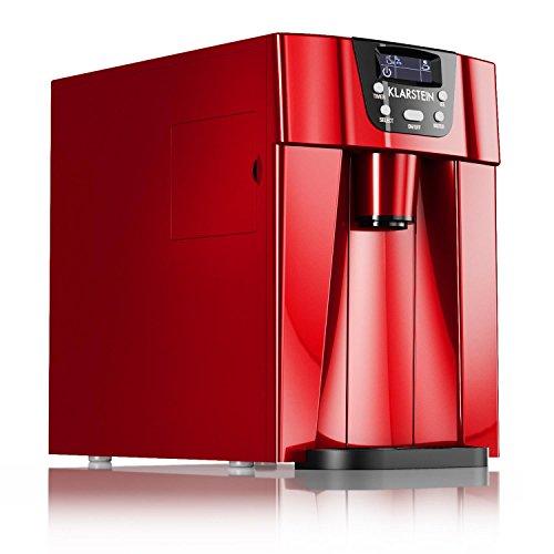 Klarstein Ice Volcano 2G Eismaschine - Eiswürfelbereiter- Eiswürfelmaschine, 2 unterschiedlichen Eiswürfelgrößen, LED-Display, bis zu 12kg /Tag, 100 W Leistungsaufnahme, rot