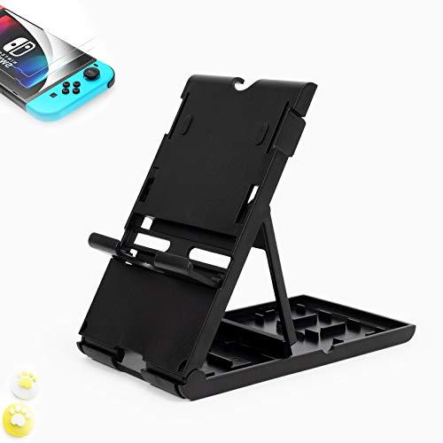 Soporte para Nintendo Switch ,Compatible con hasta 16 Juegos de Switch Organizador de Tarjeta de Juego Contenedor de Viaje,Protector de Pantalla ,Grip Set Joystick Cap Analog Stick Cap(5in1) (Negro)
