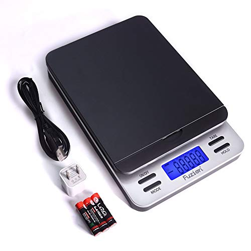 Fuzion Shipping Scale, Accurate Digital Postal Scale 86 lb/0.1 oz with Hold and Tare Function, LCD Display, Auto-Off, Postage Scale for Packages and Mailing, Battery and AC Adapter Included