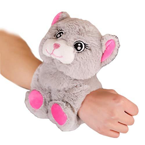 Braccialetto Animale Peluche, Braccialetto Animale Peluche Creamon Braccialetto Morbido per Bambole Cartone Animato Slap Bracciali per Bambini Orso Grigio