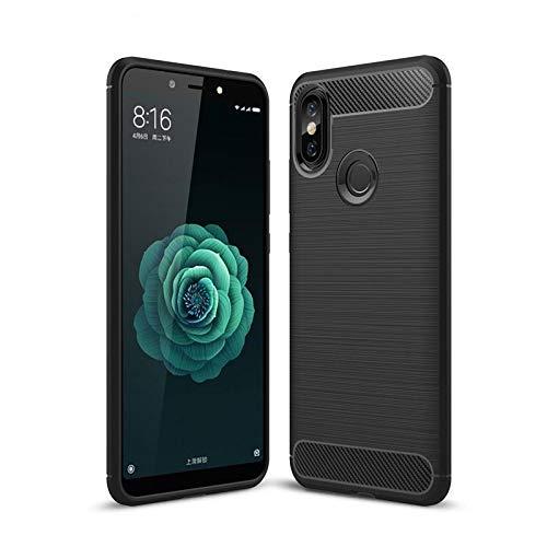 CoverKingz Handyhülle für Xiaomi Mi A2 - Silikon Handy Hülle Mi A2 - Soft Hülle Carbon Farben schwarz