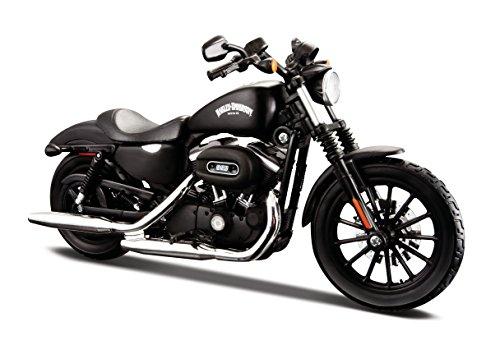 Maisto Harley-Davidson Sportster Iron 883: Originalgetreues Motorradmodell 1:12, mit beweglichem Ständer und Lenkung, schwarz (532326)