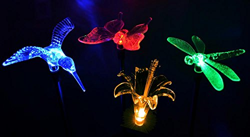 Solaration KB1041 Solar Stake Flower, Hummingbird, Butterfly and Dragonfly Garden Stake Lights, Four Pieces Set