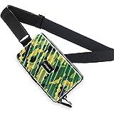 Crossbody Sling Bag Herren Und Damen, Handy Umhängetasche Schultertasche mit wasserdichter Reißverschluss & Großer Kapazität - Hart ABS+Pc Kofferform Brieftasche Geldbörse (Grüne Tarnung)