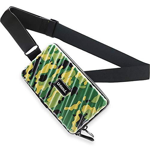 Crossbody Sling Bag Herren Und Damen, Handy Umhängetasche Schultertasche mit wasserdichter Reißverschluss und Großer Kapazität - Hart ABS+Pc Kofferform Brieftasche Geldbörse (Grüne Tarnung)