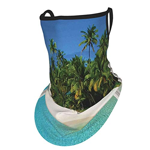cap hat Turquoise Ocean Paradise Island View from Gazebo Palm Tree Beach Theme Pictures Arts Blue Green Whiteface Bandana Neck Gaiter with Ear Loops, UV Sun Protection Reusable Cloth Scarf Balaclava