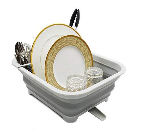 SAMMART Escurridor de platos plegable con boquilla giratoria, estante de secado plegable, organizador de vajilla portátil, bandeja de almacenamiento de cocina para ahorrar espacio (1, gris)