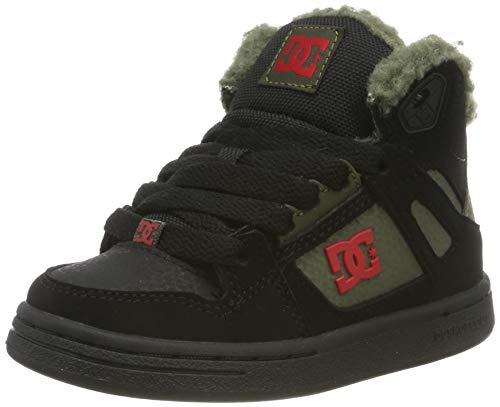 DC Shoes Pure High-top Winter-s Hoes for Boys Schlupfstiefel, Black/Olive Night, 36.5 EU