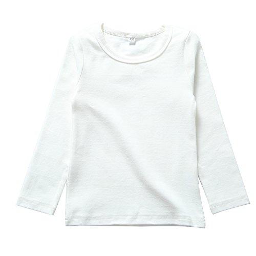 KISBINI Unisex Girls 100% Cotton Long Sleeve T-Shirt Top Tees (6, White)