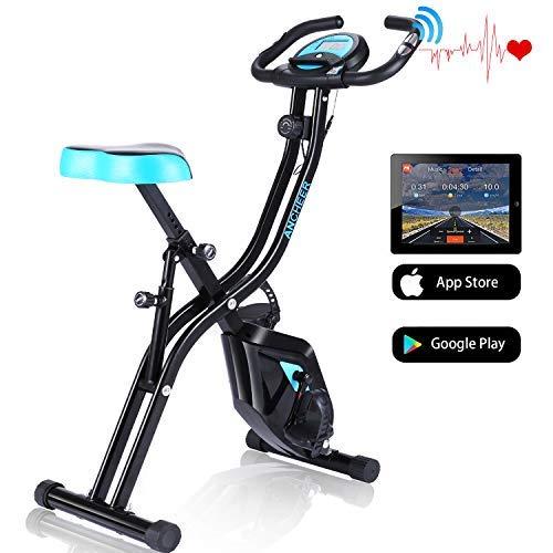 ANCHEER APP Control Heimtrainer F-Bike,klappbares Fitnessbike,Fitnessfahrrad, Fahrradtrainer für zuhause,Hometrainer mit 10-stufig einstellbarem Magnetwiderstand und bequemem Sitz (Schwarz)