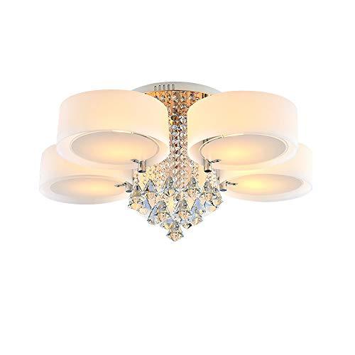 LED E27 Kristall Pendelleuchte Hängend Deckenleuchte Luxuriöse Kristall Deckenlampe Hängeleuchte Kronleuchter 3-7 Flammig Wohnzimmer (5 Köpfe)