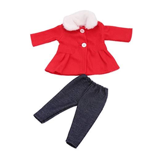 SM SunniMix 2-teilige Puppenkleidung, Winter Mantel Jacke mit Hose für 18 Zoll Mädchen Puppe Zubehör - Rot