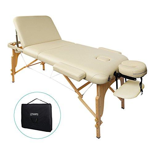 Naipo Table de Massage Lit Pliante 3-Section Professionnel Portable Ergonomique Table Canapé Pieds...