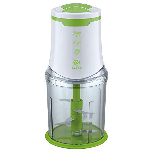Zerkleinerer 550 Watt Universalzerkleinerer 2 Geschwindigkeitsstufen | Fleisch und für Obst und Gemüse Sechs Klingen 1000 ml Acrylbehälter