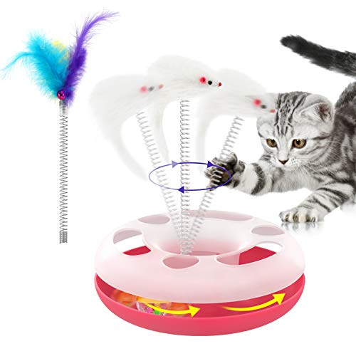 Lewondr Juguetes Interactivos para Mascotas, Juguete para Mascotas con Forma de Rueda con Ratón, Pluma, Juguetes de Entretenimiento Ideal para Ejercicio, Descanso, Interacción para Gatos, Rosa ✅