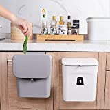 KaryHome Hanging Trash Can with Lid for Kitchen Cabinet Door or Under Sink,Kitchen Compost Bin Countertop,Mountable Trash Can,Grey