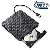 Lecteur CD/DVD Externe,USB 3.0 Portable CD/DVD/ROM Optiques Externes Graveur,Transmission Rapide Câble USB Intégrée...