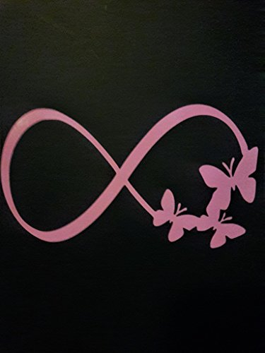 Chase Grace Studio Infinity Symbol Butterflies Vinilo Decal | PINK| Coches Camiones Vans SUV Laptops Wall Art|5.5 'x 3 '| CGS359