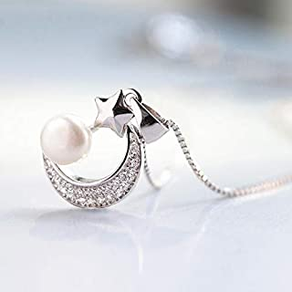 Dgxd Exquisite Pendant Necklace Japanese And Korean Fashion Collarbone Lady Temperament Simple Artificial Pearl Star Moon ...