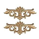 SUPVOX 2 piezas sin pintar de madera tallada apliques onlay estilo europeo tallado flores onlay gabinete muebles puerta decoración