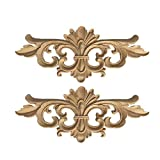 SUPVOX 2 piezas sin pintar de madera tallada apliques onlay estilo europeo tallado flores onlay...