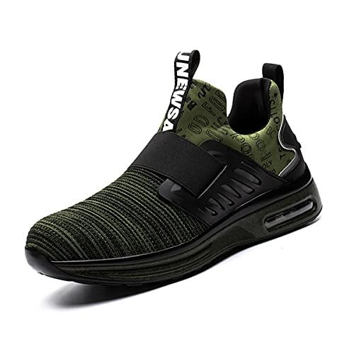 Aingrirn Zapatos de Seguridad para Hombre, Puntas de Plástico Colchón de Aire Zapatos de Trabajo Transpirables Construcción Calzado de Seguridad (Color : Green, Size : 44 EU)