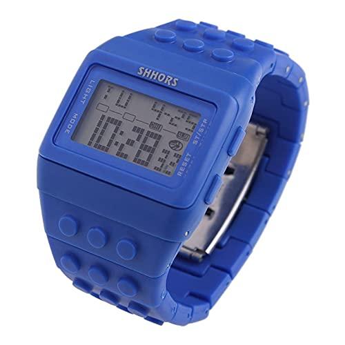 Reloj Niño Yuan Ou Relojes para niños Digital LED Chic Unisex Colorido Constructor Bloques Deportes Niños Relojes Muñeca Niños Estudiante Reloj Regalo
