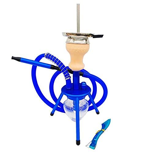 N\C ZZST Kit con 1 Manguera, trípode, Accesorios para cachimba con Pinzas para carbón, Base de Botella de Vidrio, Azul ZZST