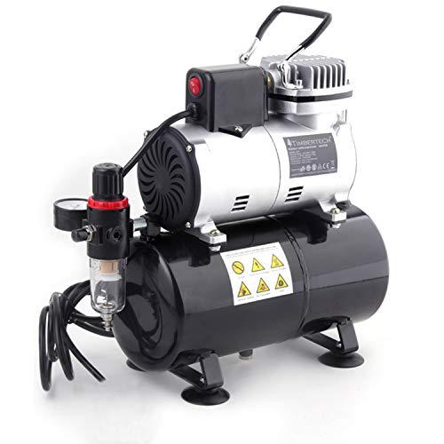 TIMBERTECH compresor aerografo mejorado con ventilador de enfriamiento   tanque de aire   autoarranque automático para belleza, tatuajes, uñas, etc.