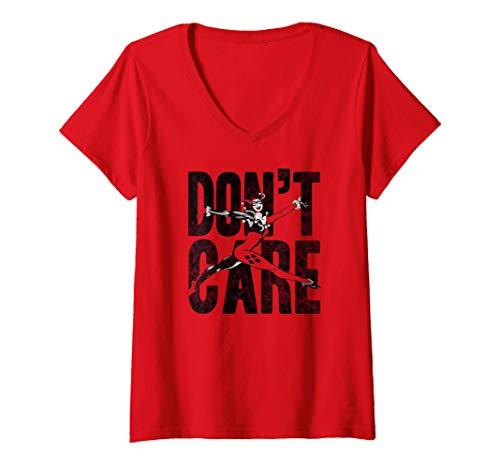 Womens Harley Quinn Don't Care V-Neck T-Shirt