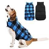 Kuoser British Style Plaid Dog Winter Coat, Windproof Cozy Cold Weather Dog Coat Dog Apparel Dog Jacket Dog Vest for Small Medium and Large Dogs with Pocket & Leash Hook Blue L
