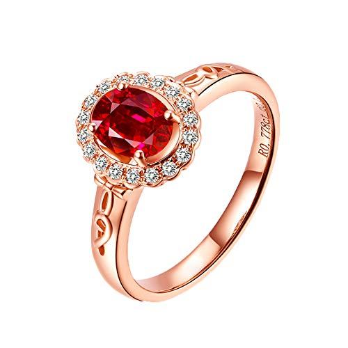 YCGEMS 0.77ct echte robijn unieke sieraden verlovingsring - 18K massief roségoud vrouwen trouwringen