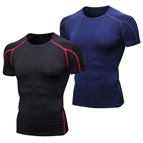 Niksa 2 Piezas Camisetas de Fitness Compresión Ropa Deportiva Manga Corta Hombre para Correr, Ejercicio,Gimnasio Negro Rojo+Azul Marino1053(M)