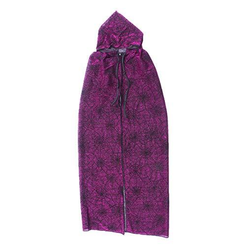 Disfraz unisex de bruja de bruja de araa patrn con capucha para cosplay disfraz de disfraz de capa prpura