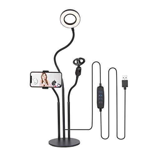KTOO DC5V 15W 24 LED 3.5Inches R-ing Selfie Light Lámpara de cámara Redonda Alimentado por USB 3 Niveles Brillo Ajustable Regulable / 3 Colores Cambio de Temperatura/Diseño del Soporte del teléfono