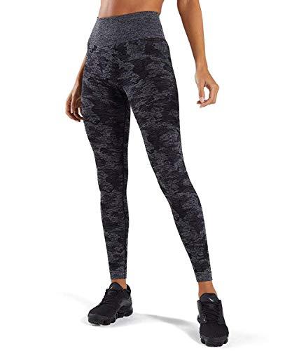 Yaavii Damen Sport Leggings Lange Blickdicht Yogahose Sporthose Streetwear Sporttight mit Hohe Taille Bauchkontrolle Camo Schwarz S